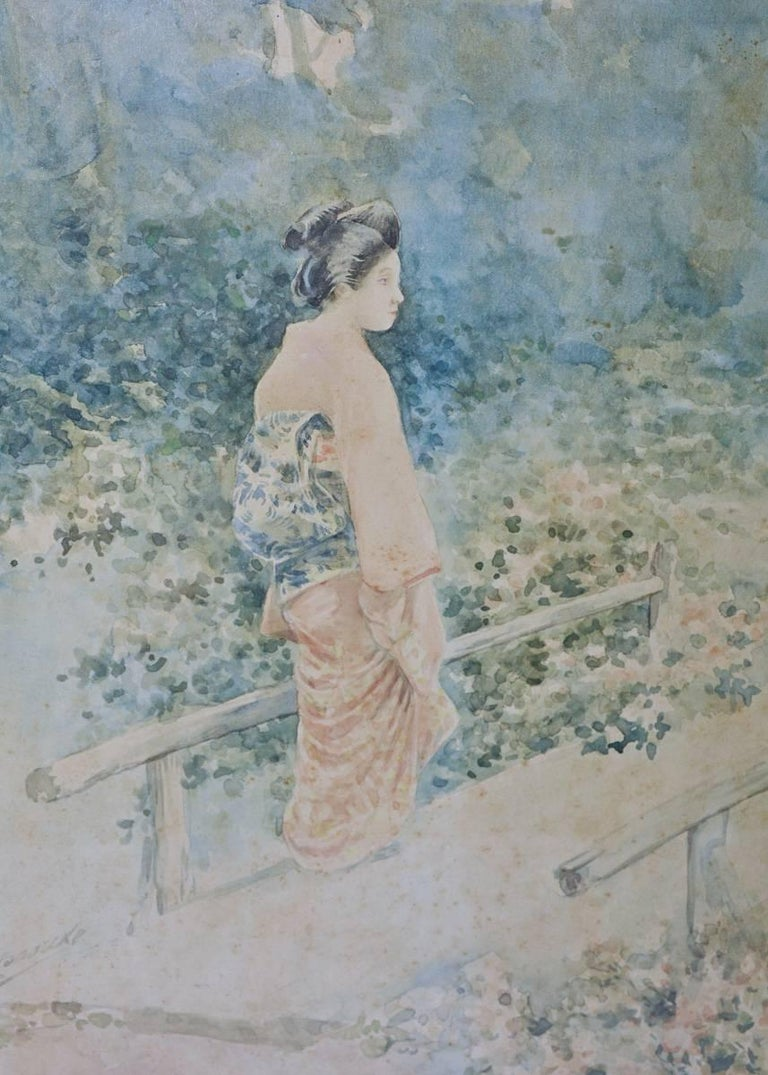 Vintage Japanese Watercolor in Gilt Frame In Good Condition For Sale In Great Barrington, MA