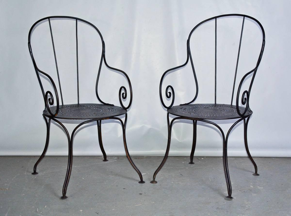 The Pair Of Antique French Outdoor Public Park Or Garden Metal Armchairs,  Made Of Wrought