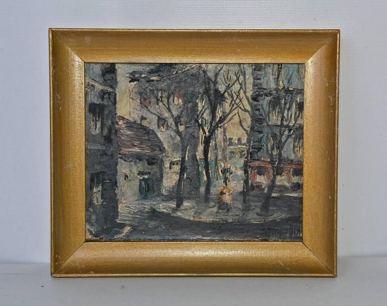 The four petite 20th century Parisian landscapes are painted and signed in oil on paper board by Andre Bessp. The artist has labeled and signed each one on the back: