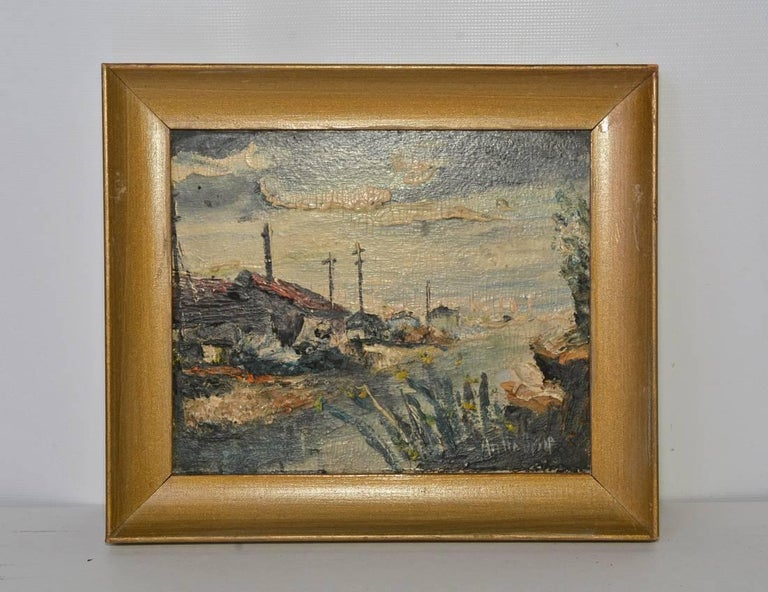 Expressionist Four Small 20th Century Parisian Landscapes in Oil by Andre Bessp For Sale