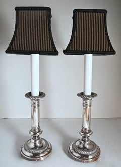 Pair of Antique Silver Plated Electrified Candle Sticks Lamps with Shades