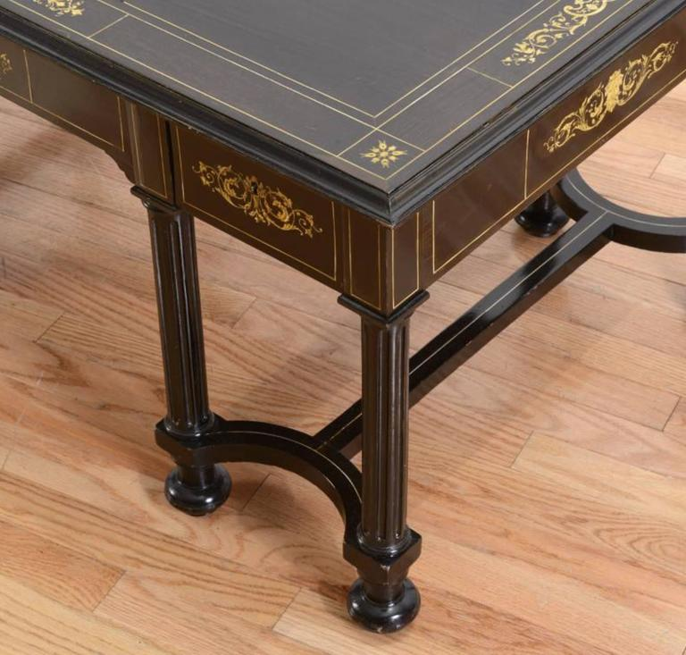 19th Century Fine Italian Ebonized and Marquetry Inlaid Low Table For Sale
