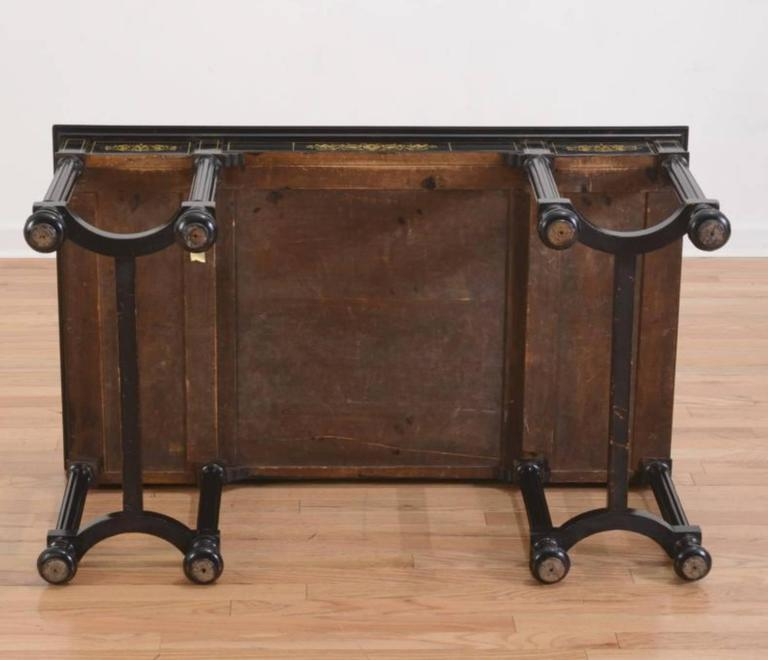 Fine Italian Ebonized and Marquetry Inlaid Low Table For Sale 1