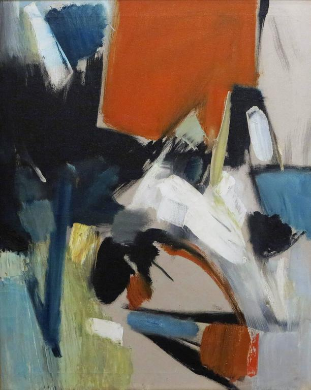 Donald Raymond David. American, 1906-2006. Abstract.  Oil on canvas 30 by 24 in.  Donald Raymond David was born in Springbrook, Oregon in 1906. He attended Fresno State College in 1927 and studied with Alexandra Bradshaw. By the 1930s Don David was