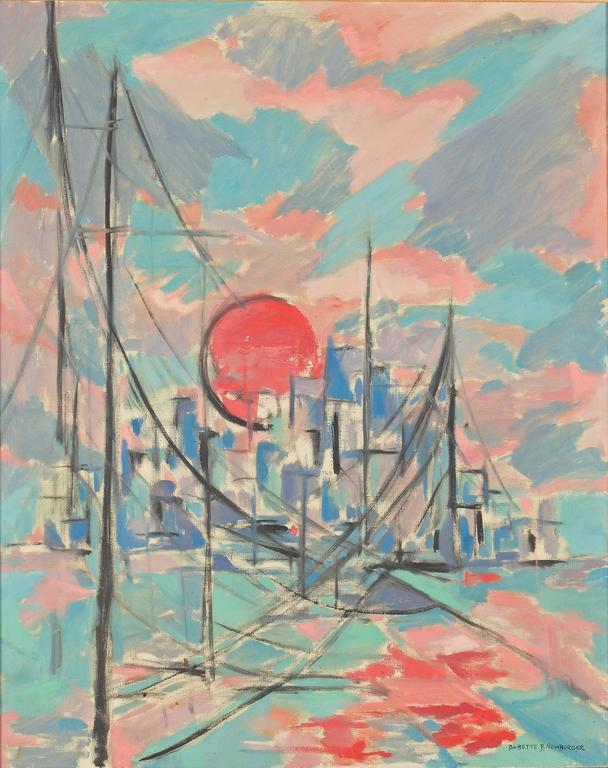 Babette Newburger, American, 20th century, New York sunset.  Oil on canvas. Signed lower right. 31 by 25 in. with frame 38 by 32 in.  Provenance: Property of a Lady, New York. Le Trianon fine art & antiques, Sheffield, Ma.  Art