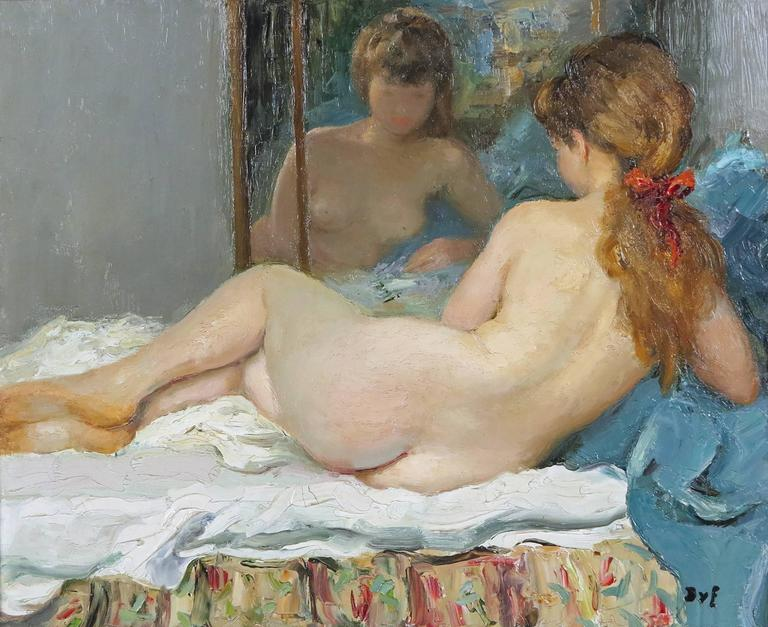 Marcel Dyf, French, 1899-1985. Reclining nude.  Oil on canvas. Signed lower left Dyf. Measures: 23 ½ by 28 ¾ in. With frame: 33 ½ by 38 ½ in.  Marcel Dyf was born in Paris, October 7, 1899. He was considered a figure, still life, and landscape