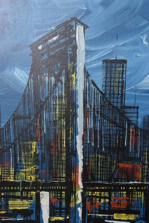 Mid-Century Modern Signed Mid-Century Oil Painting of New York City For Sale