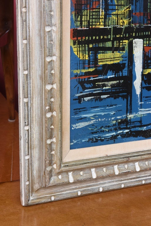 Signed Mid-Century Oil Painting of New York City In Excellent Condition For Sale In Miami, FL