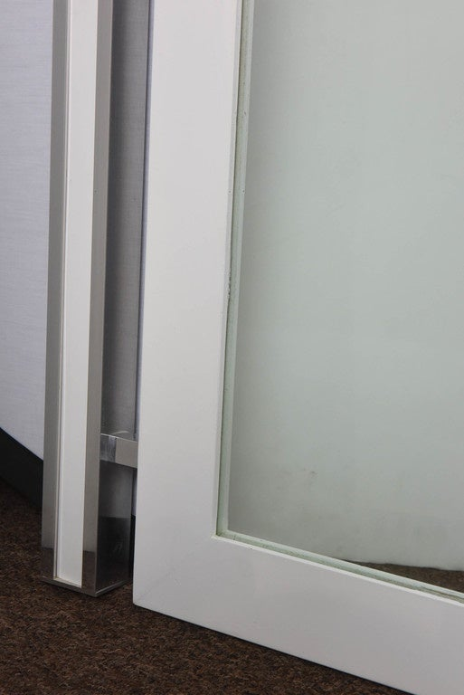 Veneer 1970s Mod White and Chrome Mirror For Sale