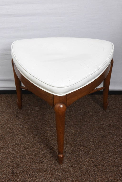 White Triangle Leather Ottoman By Mastercraft At 1stdibs
