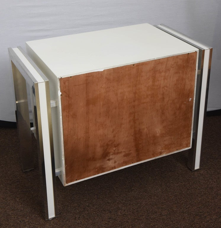 1970s Mod Pair Of White And Chrome Night Stands For Sale