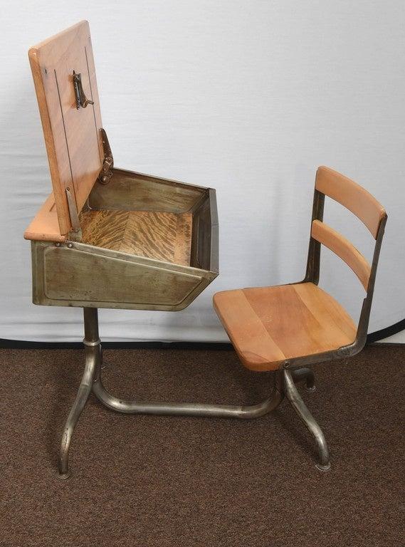 Mid-Century Modern 1950s Industrial Child's School Desk For Sale