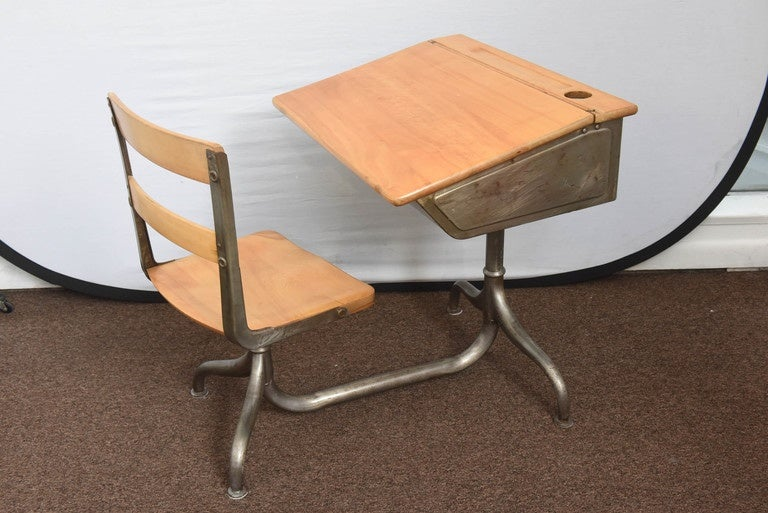 Mid-20th Century 1950s Industrial Child's School Desk For Sale