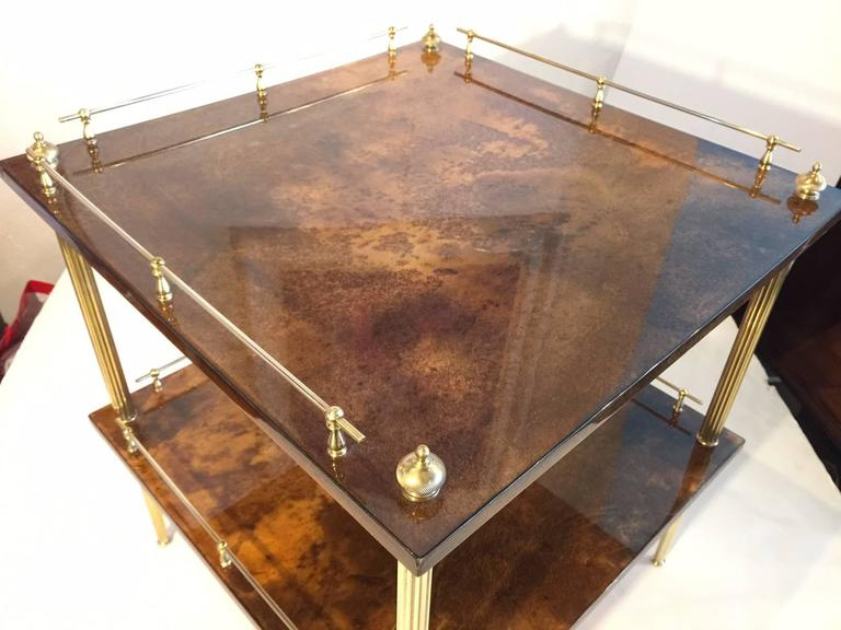 Mid-Century Modern Amber Resine Goatskin and Brass Two-Tiers Side Table by Aldo Tura, Italy For Sale