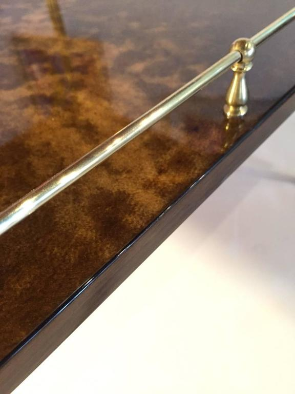 Italian Amber Resine Goatskin and Brass Two-Tiers Side Table by Aldo Tura, Italy For Sale