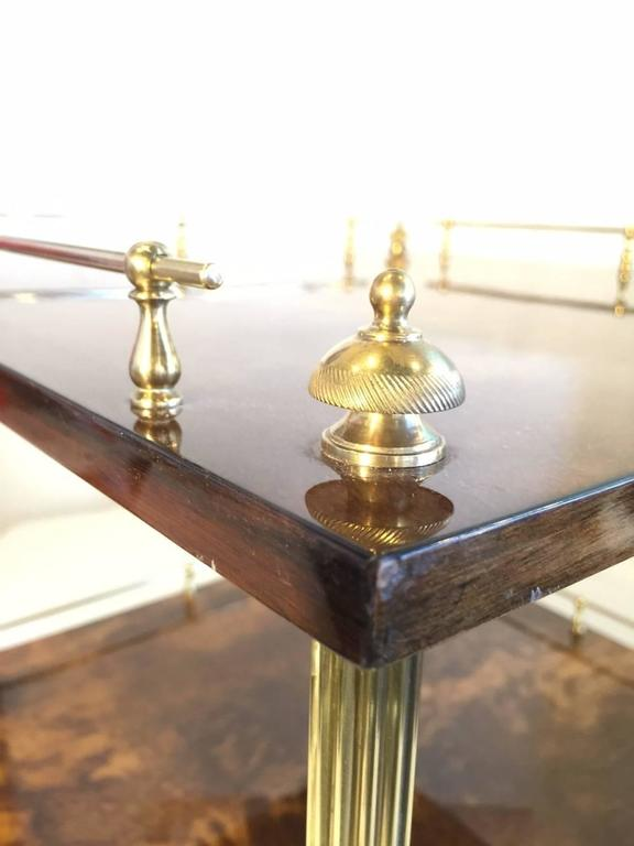 Lacquered Amber Resine Goatskin and Brass Two-Tiers Side Table by Aldo Tura, Italy For Sale