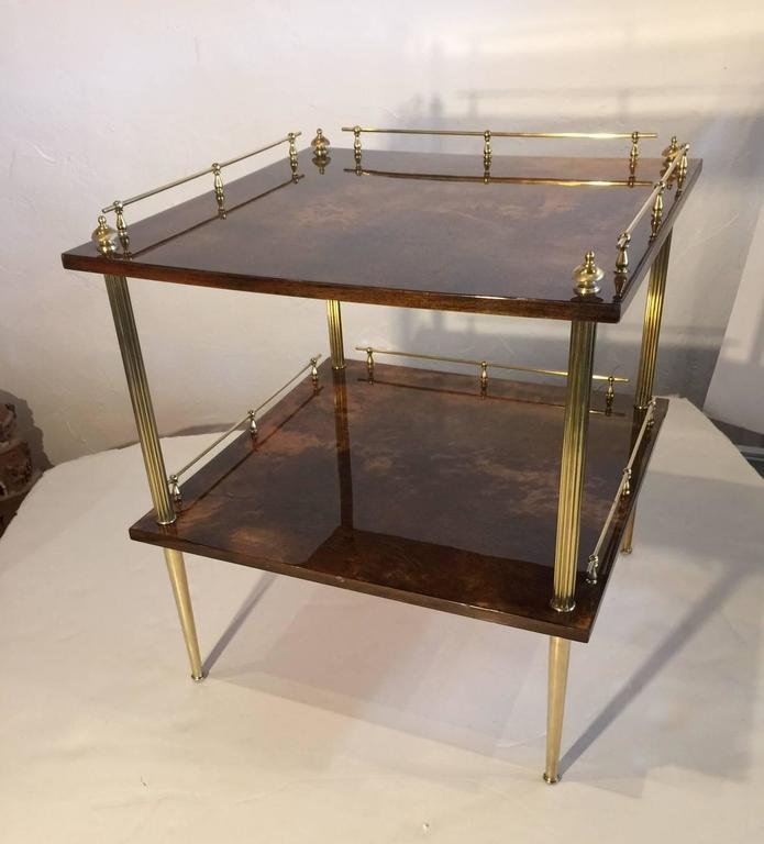 Amber Resine Goatskin and Brass Two-Tiers Side Table by Aldo Tura, Italy For Sale 2