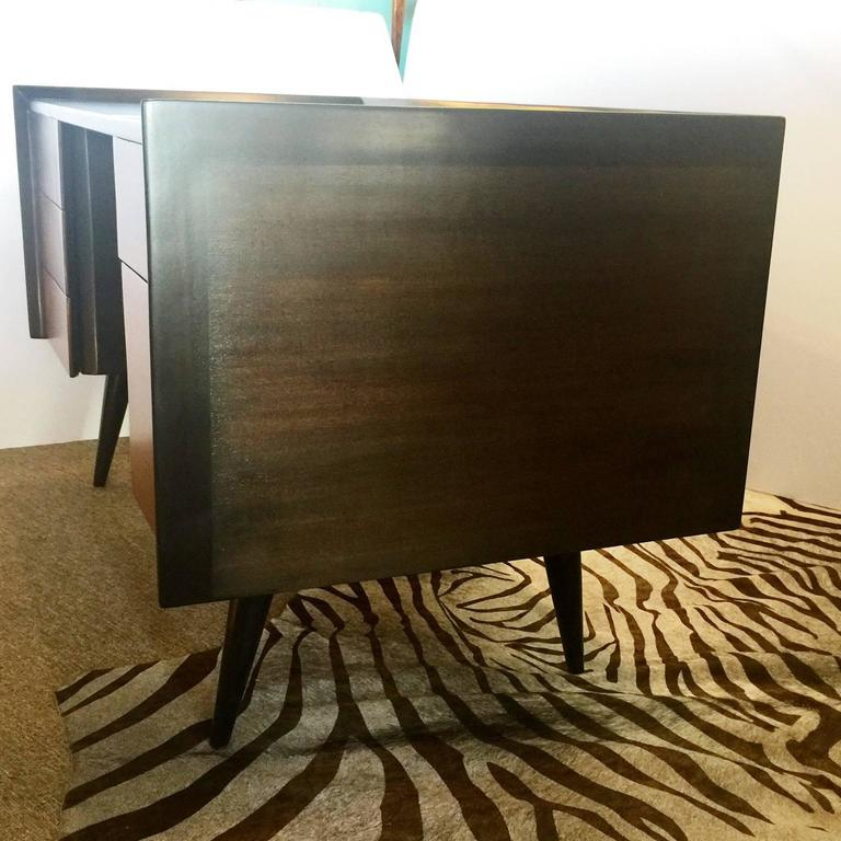 Stained Jens Risom Mid-Century Modern Five-Drawer Mahogany Writers Desk For Sale