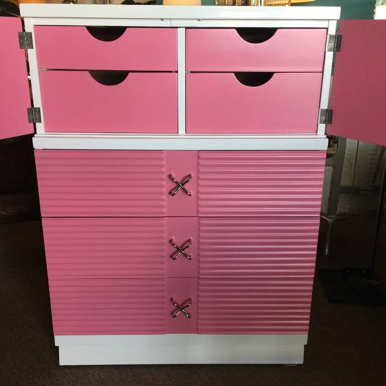 Mid-Century Pink and White Tall Chest of Drawers Dresser by Martinsville 3