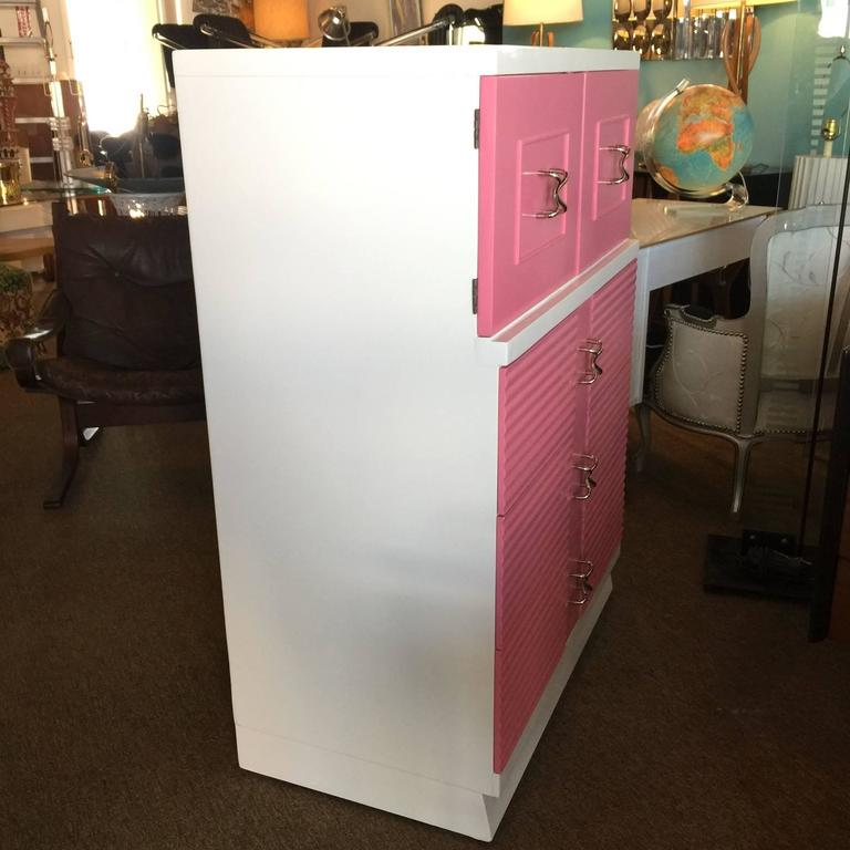 Mid-Century Pink and White Tall Chest of Drawers Dresser by Martinsville 6