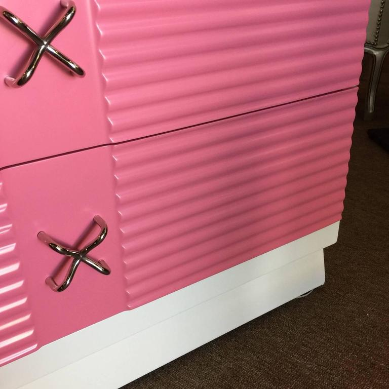 Mid-Century Pink and White Tall Chest of Drawers Dresser by Martinsville 5