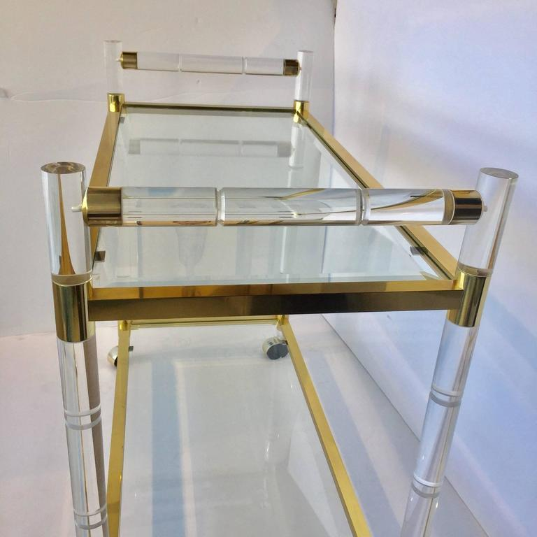 1970s Charles Hollis Jones Style Hollywood Regency Brass and Lucite Serving Cart For Sale 2