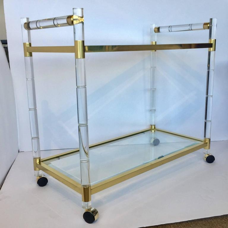 1970s Charles Hollis Jones Style Hollywood Regency Brass and Lucite Serving Cart For Sale 1