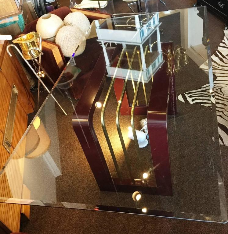 1970s Burgundy High Gloss Formica and Brass Dining Table or Desk with Glass Top 9