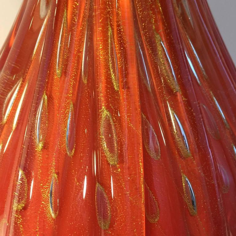 Murano Glass Barovier & Toso Gold Flex Bubbles Murano Art Glass Table Lamp, Italy For Sale
