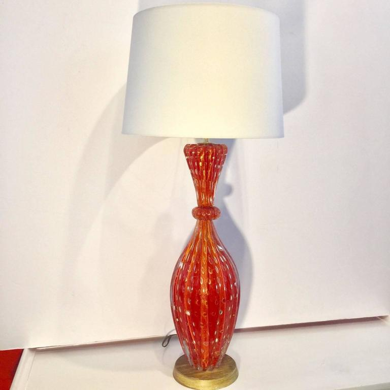 Barovier & Toso Gold Flex Bubbles Murano Art Glass Table Lamp, Italy For Sale 2