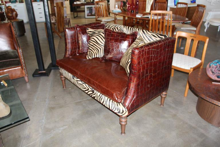 Old Hickory Tannery Croc Grained Zebra Pattern Horsehide Loveseat Settee 2