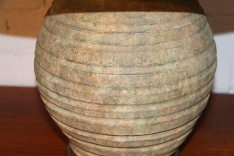 American Pair of Ribbed Stone Ware Pottery Lamps For Sale