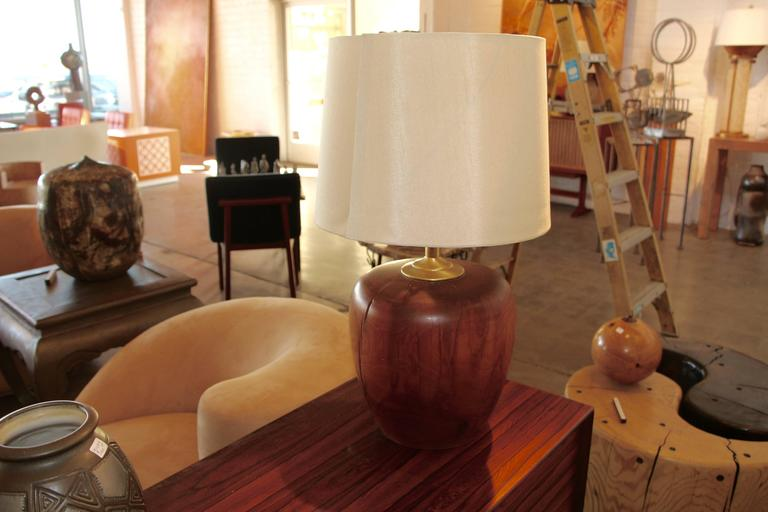 Hand-Crafted American Craftsman Turned Wood Lamp For Sale