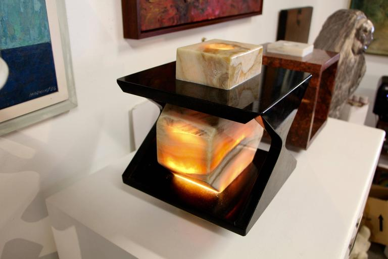 Beautiful Handmade One of a Kind Granite and Onyx Lamp by a Local Artisan For Sale 1
