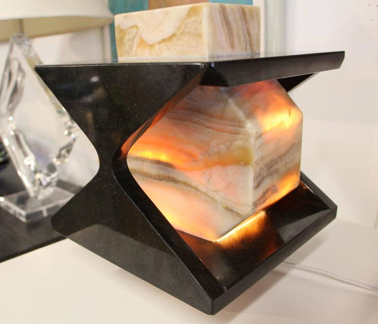 Beautiful Handmade One of a Kind Granite and Onyx Lamp by a Local Artisan For Sale 2