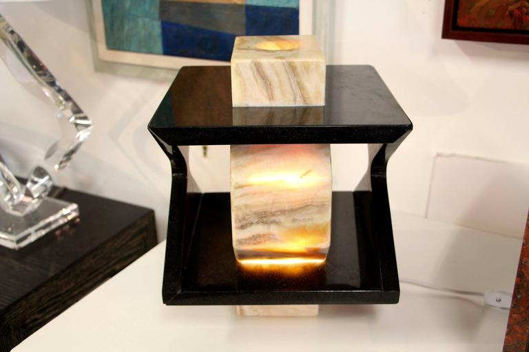 Beautiful Handmade One of a Kind Granite and Onyx Lamp by a Local Artisan For Sale 3