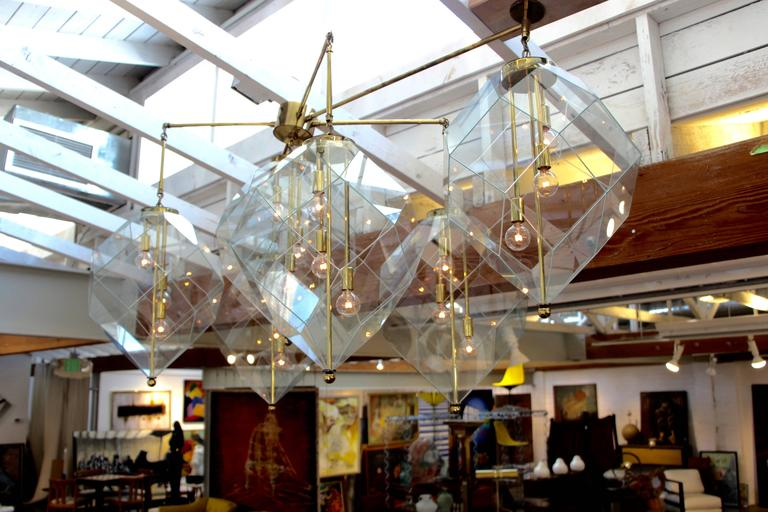 Custom made morrison lighting brass chandelier with faceted a monumental custom made chandelier ordered in 1978 from the morrison lighting company this aloadofball Choice Image