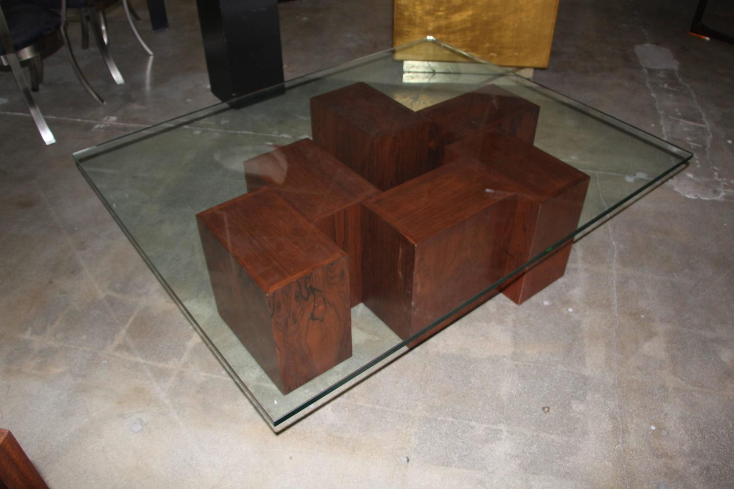 Stunning rosewood cube coffee table with glass top for for Glass cube coffee table