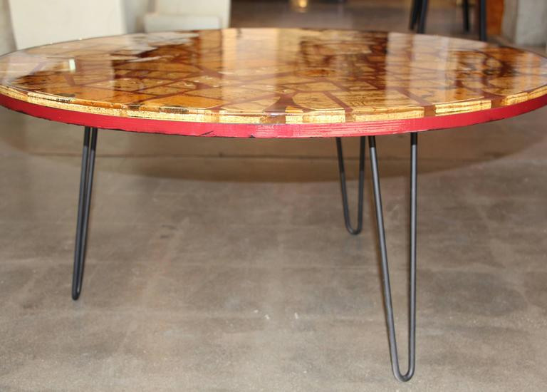 Resin Epoxy Table With Pretty Cork Pieces On Hairpin Legs For Sale
