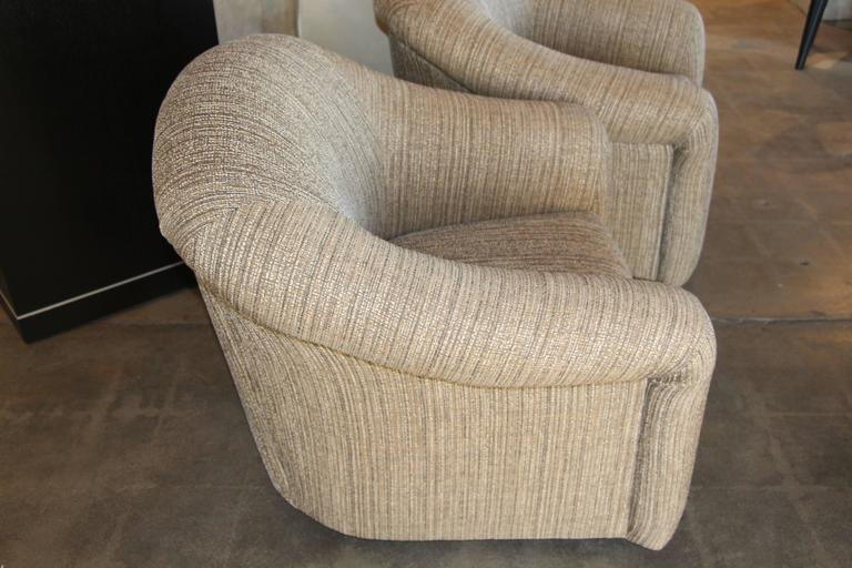 Pair Of Comfortable Swivel A Rudin Chairs And Matching