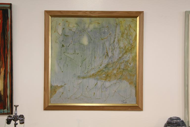 A really wonderful abstract that is illegibly signed (Tanaka?). This painting has been recently reframed. There was a patch repair on the back, but now has a paper backing since the reframing. There is some in-painting, although I find it hard to
