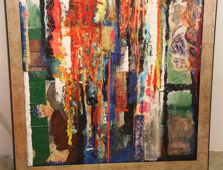 A wonderful George Dergalis mixed-media on acid free board. This vibrant piece is a collage with newspaper sections and other pieces added. New frame. Signed lower right and included will be this exhibition book, which is picture. a Brief Bio