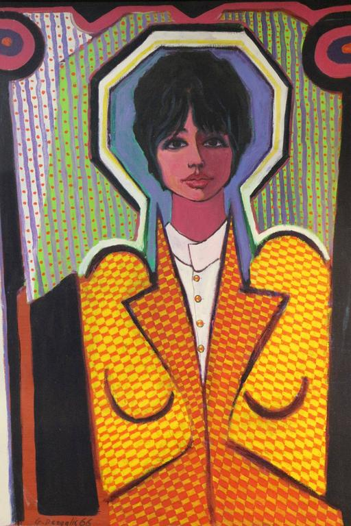 Mid-20th Century Fabulous Pop Art Painting by George Dergalis Dated 1966 For Sale