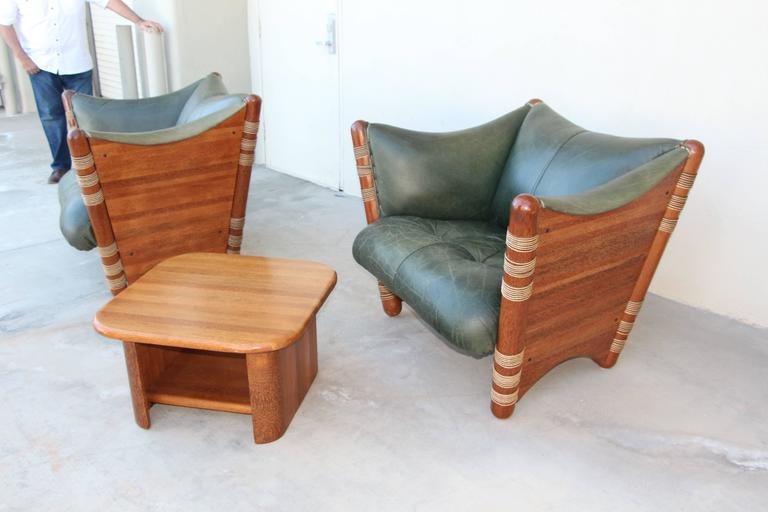 A Wonderful Pair Of Lounge Chair Made By The South Pacific Firm Of Pacific  Green. Pair Of Pacific Green Distressed Leather ...