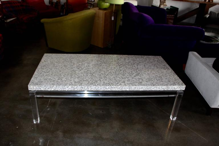 American Lucite Mother of Pearl Coffee Table  For Sale