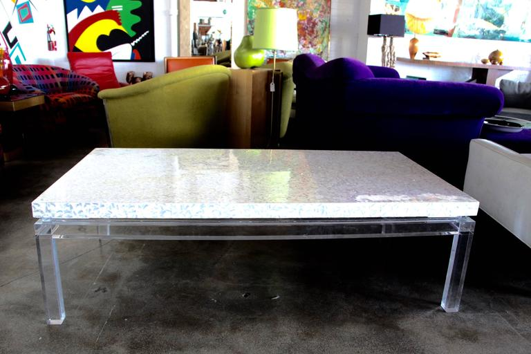 Lucite Mother of Pearl Coffee Table  In Good Condition For Sale In Palm Springs, CA