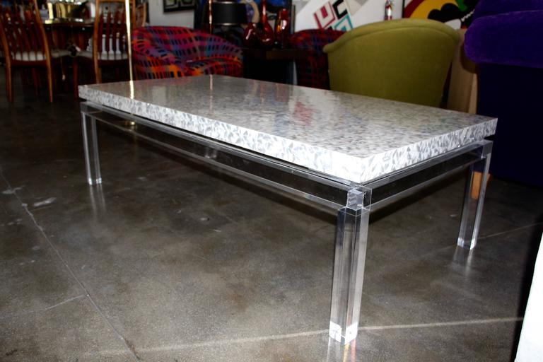 Abalone Lucite Mother of Pearl Coffee Table  For Sale
