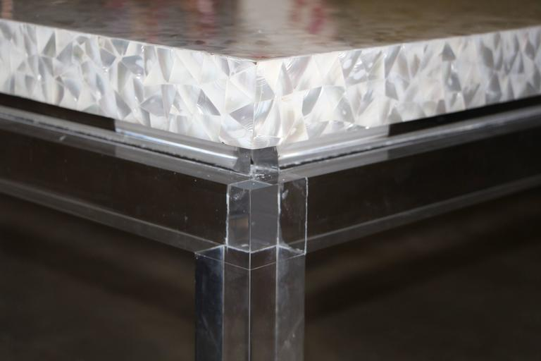 Lucite Mother of Pearl Coffee Table  For Sale 1