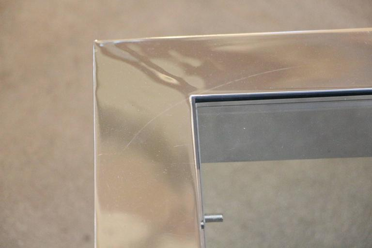 Mirror Polished Aluminium Cocktail Table With Glass Insert