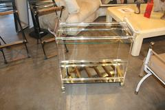 Lucite Brass and Mirror Bar Cart on Casters